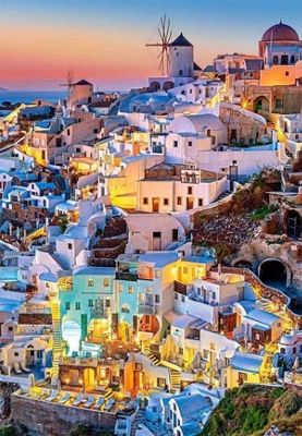 Santorini Lights - 1000pc Puzzle