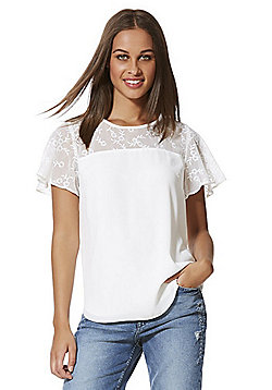 F&F Embroidered Split Back Shell Top - Cream