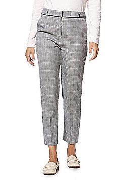 F&F Checked Slim Fit Ankler Grazer Trousers - Black & White