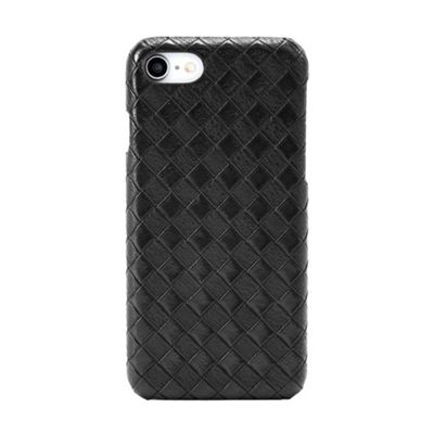 iPhone 8 Faux Leather Rhomb Effect Pattern Protective Case - Black