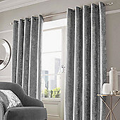 Crushed Velvet Pair of Fully Lined Eyelet Curtains - Silver Grey - Silver