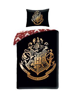 Harry Potter Single Cotton Duvet Cover and Pillowcase Set - Black