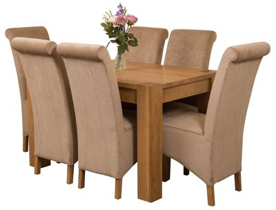 Kuba Chunky 125cm Kitchen Solid Oak Dining Set Table + 6 Beige Fabric Chairs