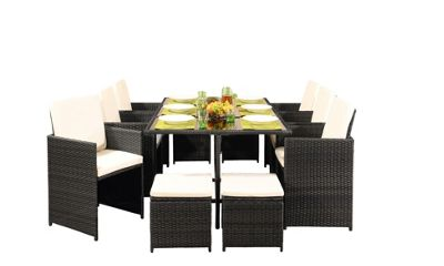 Comfy Living 10 Seater Rattan Outdoor Garden Furniture Set In Brown With Cover - 6 Chairs 4 Stools & Dining Table