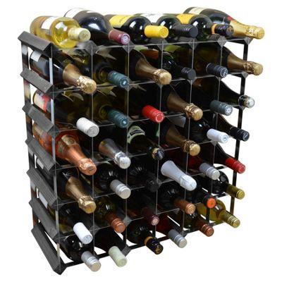 Harbour Housewares 42 Bottle Wine Rack - Fully Assembled - Black Wood
