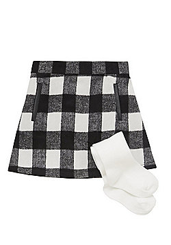 F&F Checked A-Line Skirt and Tights Set - Multi