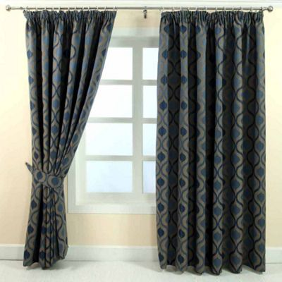 Homescapes Blue Jacquard Curtain Modern Wave Pattern Fully Lined - 90