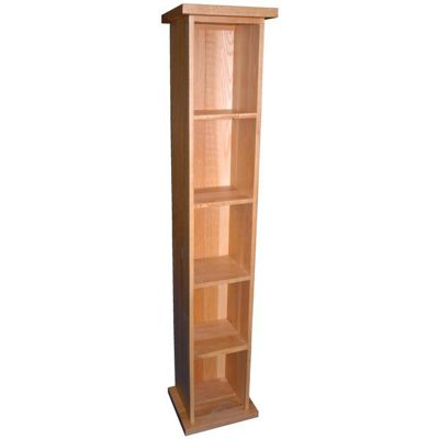 Kelburn Furniture Essentials Single DVD Tower in Light Oak Stain and Satin Lacquer