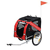 PawHut Folding Dog Carrier Bicycle Pet Trailer Steel Frame (Red & Black)