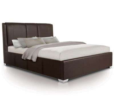Extra Padded Oversized Ottoman Gas Lift Storage Bed Upholstered in Faux Leather - Double - Brown