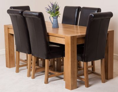 Kuba Chunky Solid Oak 180 cm Dining Table with 6 Brown Washington Leather Chairs
