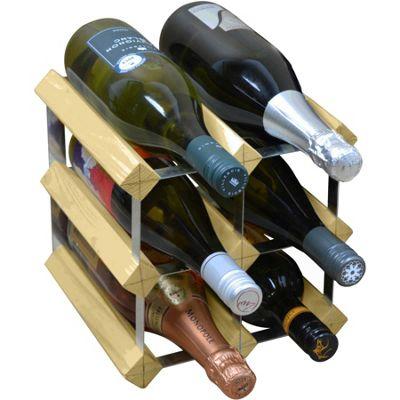 Harbour Housewares 6 Bottle Wine Rack - Fully Assembled - Light Wood