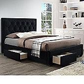 Happy Beds Woodbury Velvet Fabric 4 Drawers Storage Bed with Memory Foam Mattress - Black
