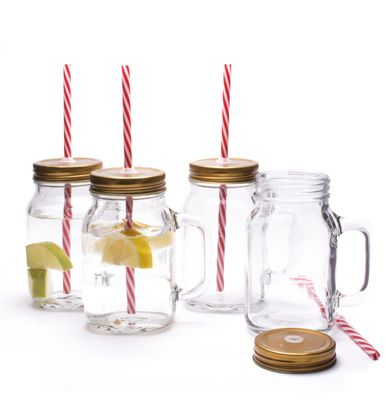 mason jar pint drinking glasses with lid and straw set of 4 - Mason Jar Drinking Glasses