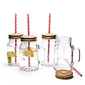 Mason Jar Pint Drinking Glasses With Lid and Straw - Set of 4