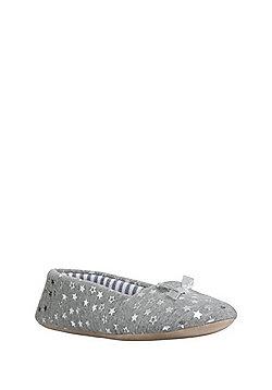 F&F Foil Star Print Ballerina Slippers - Grey