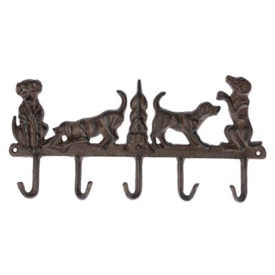 Homescapes Brown Cast Iron Wall Mounted Hooks with Decorative Dogs