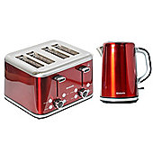 Brabantia BQPK12 Red Breakfast Kettle and 4 Slice Toaster Set
