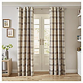 Woven Check Eyelet Curtains - Duck Egg 66 X 54 - Grey