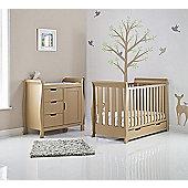 Obaby Stamford Mini Cot Bed 2 Piece Nursery Room Set - Iced Coffee