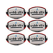 Webb Ellis Trainer Rugby Balls, 6 Pack, Size 4, Red/Black