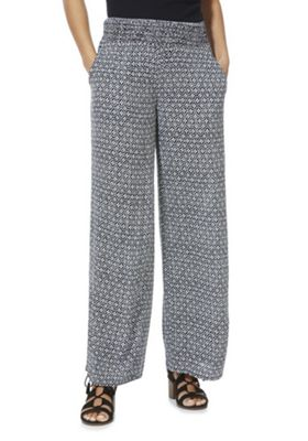 F&F Floral Tile Print Beach Trousers Navy/White 16