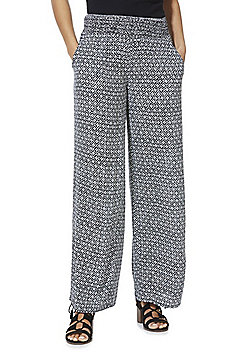 F&F Floral Tile Print Beach Trousers - Navy/White