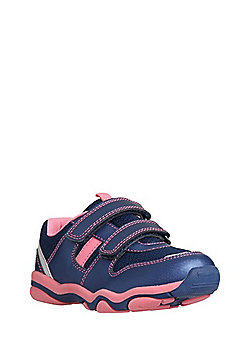 F&F Double Strap Mesh Panel Trainers - Navy & Pink