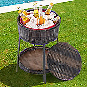 Outsunny Rattan Ice Bucket Cooler Garden Storage Box Wicker