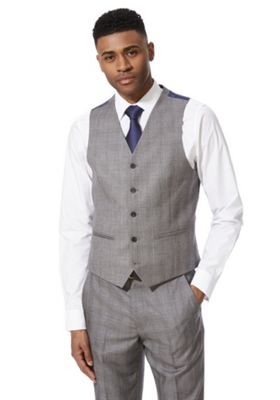 F&F Checked Regular Fit Waistcoat Grey 44 Chest regular length