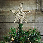 17cm Champagne Gold Glitter Star Christmas Tree Topper Decoration