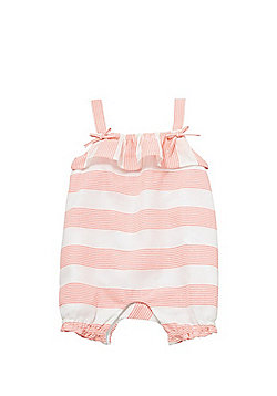 F&F Striped Ruffle Romper - Coral/White