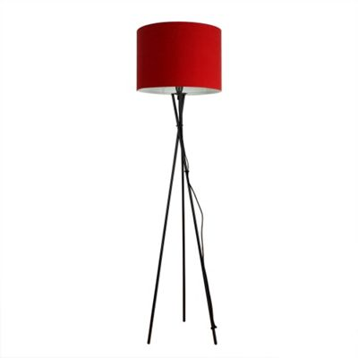 Camden Tripod Floor Lamp, Gloss Black & Red Rolla Shade