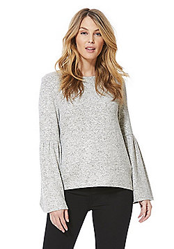 Only Soft Touch Flare Sleeve Jumper - Grey