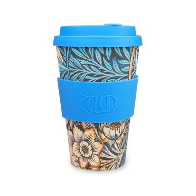 Ecoffee Cup & William Morris Lily with Mid Blue Silicone 14oz