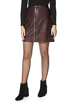 F&F Faux Leather A-Line Skirt - Burgundy