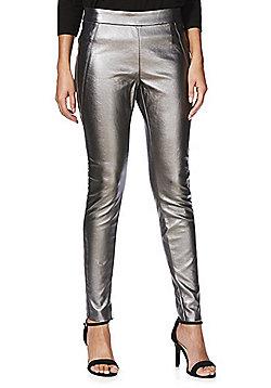 Vero Moda Metallic Coated Leggings - Silver