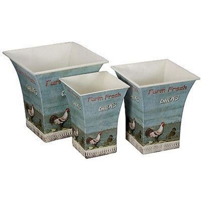 Set Of Farm Chick Square Storage Tins