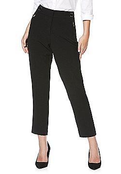 F&F Premium Ankle Grazer Slim Leg Trousers - Black