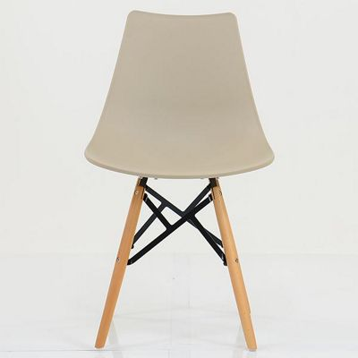 Bergen Biscuit Plastic Dining Chair Beech Leg