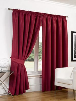 Dreamscene Faux Silk Blackout Curtains With Tiebacks Red - 66