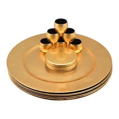 Round Charger Plates, Coasters & Napkin Rings Set In Gold - Set Of 18