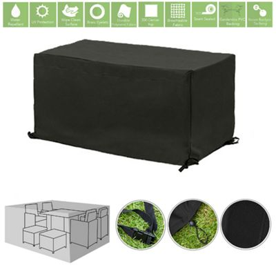 Black Water Resistant Outdoor Furniture Cover Protector for 6 Seater Garden Dining Set