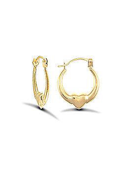 9ct Yellow Gold Heart Creole Earrings