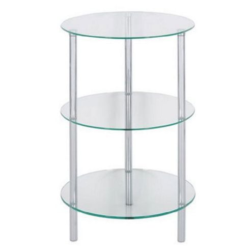 LEVV Sierra 3 Tier Clear Glass Lamp Table