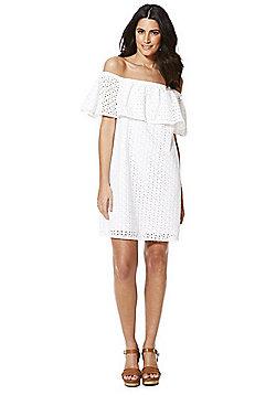 F&F Broderie Anglaise Bardot Dress - White