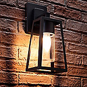 Auraglow Black Outdoor Hanging E27 LED Candle Lantern Wall Light Lamp (Warm White)