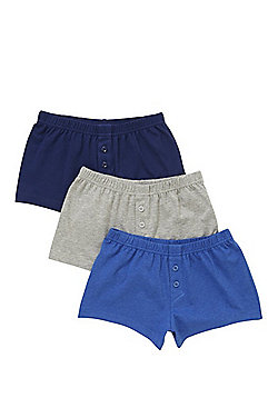F&F 3 Pack of Jersey Boxer Shorts - Blue & Grey
