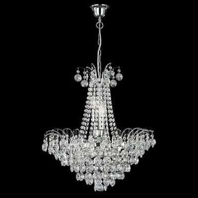 Modern Style 6 Light Chrome Finish Chandelier - Sunflower Crystal