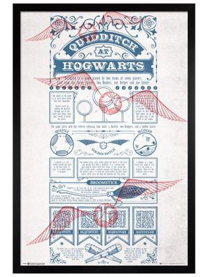 Harry Potter Black Wooden Framed Quidditch At Hogwarts Poster 61x91.5cm